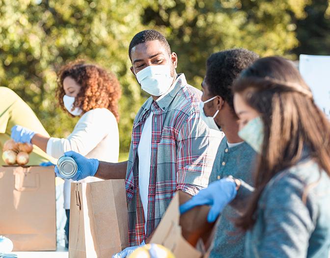 Group of people volunteering.